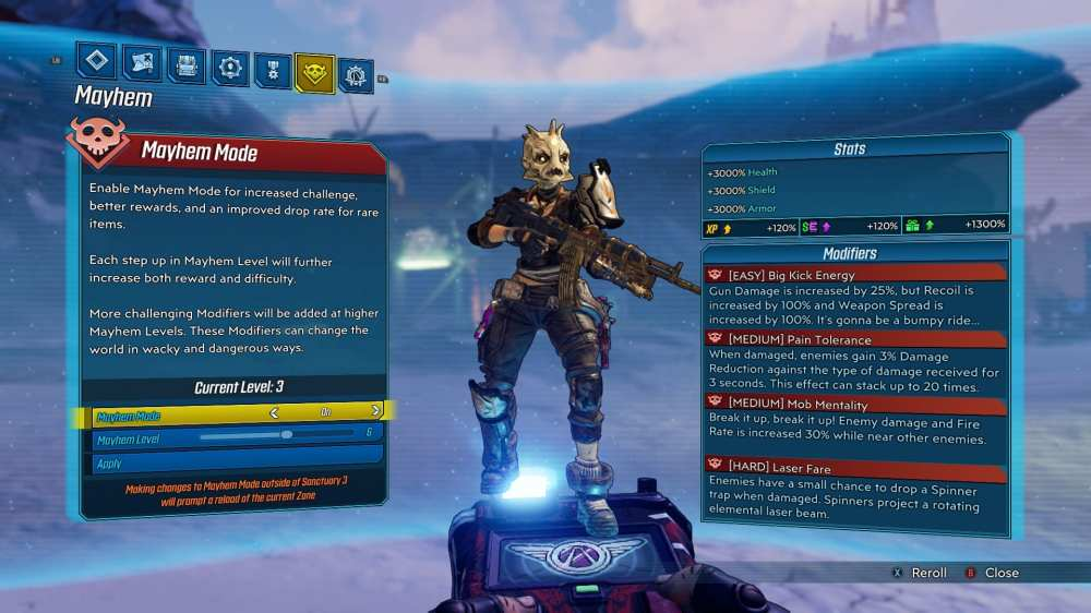 Borderlands 3 Mayhem 2.0 Menu
