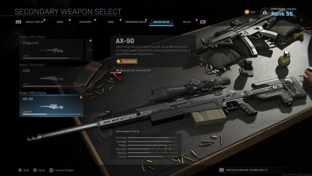 warzone, best sniper