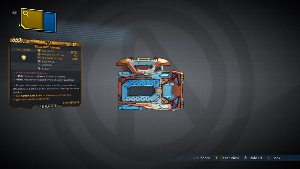 Firewall Legendary Hyperion Shield