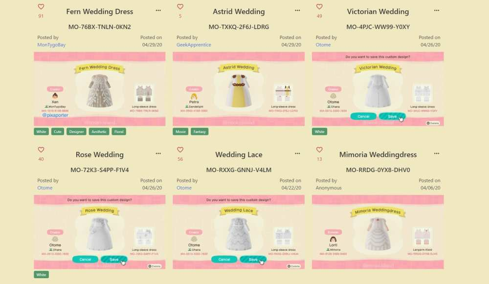 animal crossing wedding dresses