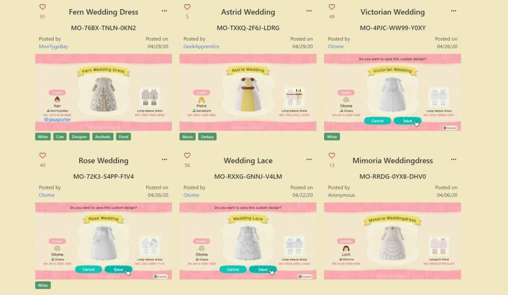 animal crossing wedding dresses