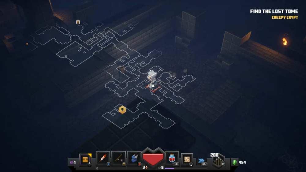 abrindo o mapa nas masmorras de minecraft