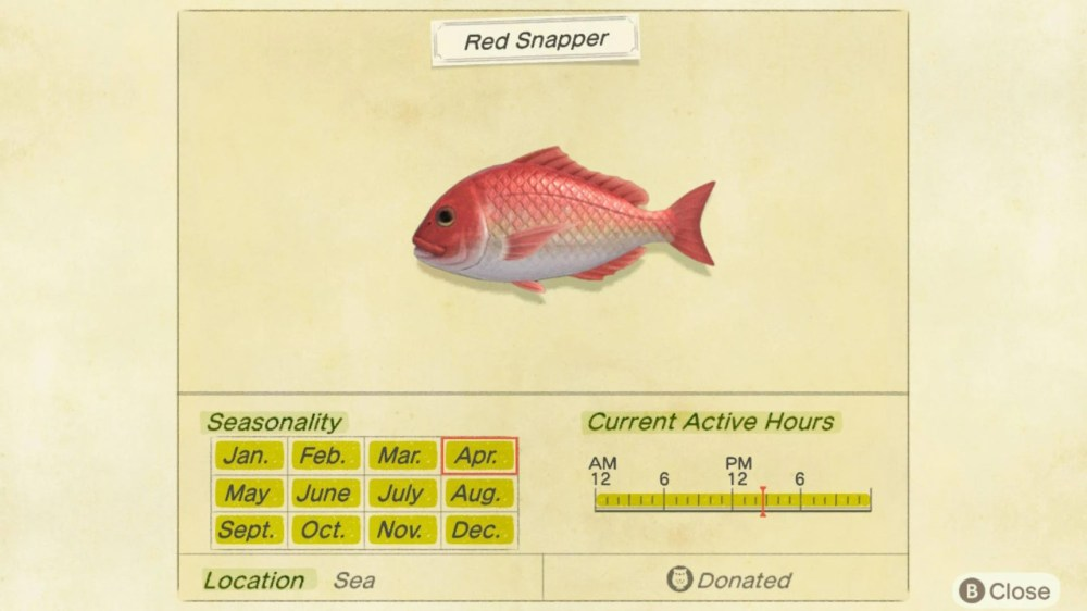 animal crossing new horizons red snapper