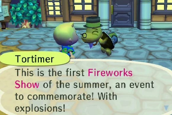 tortimer, fireworks show, animal crossing