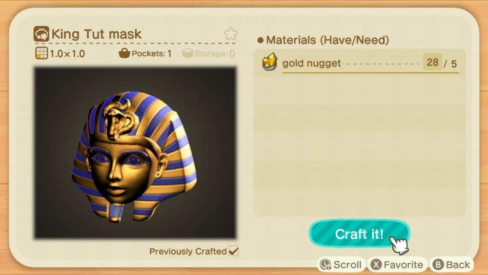 king tut mask, animal crossing