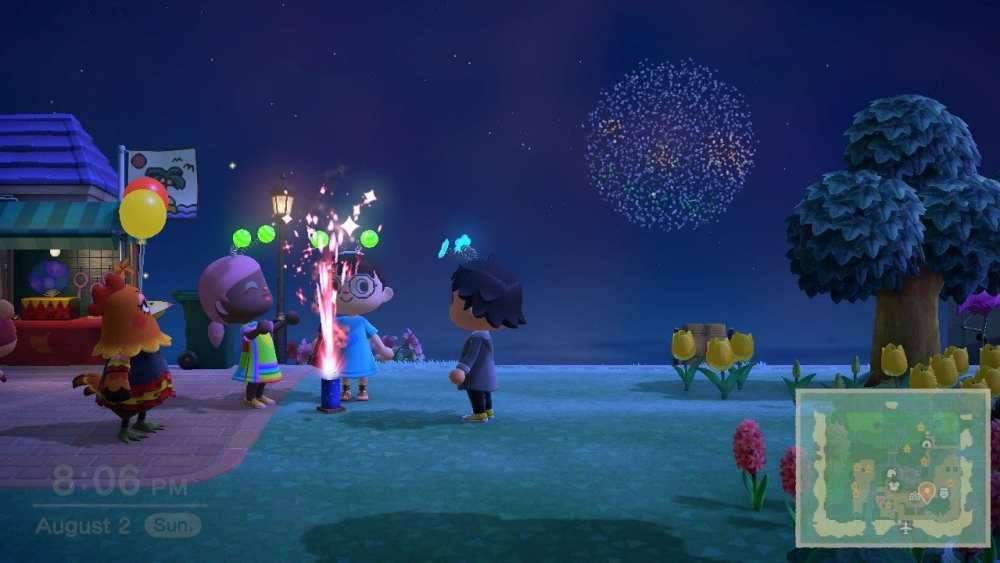 animal crossing new horizons fountain fireworks