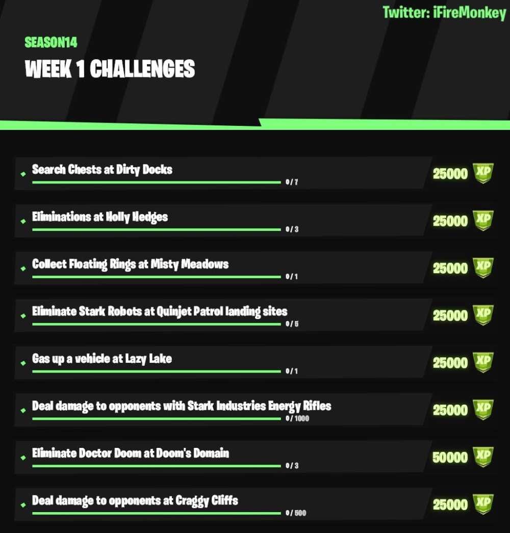 fortnite chapter 2 season 4 week 1 challenges, fortnite week 1 challenges