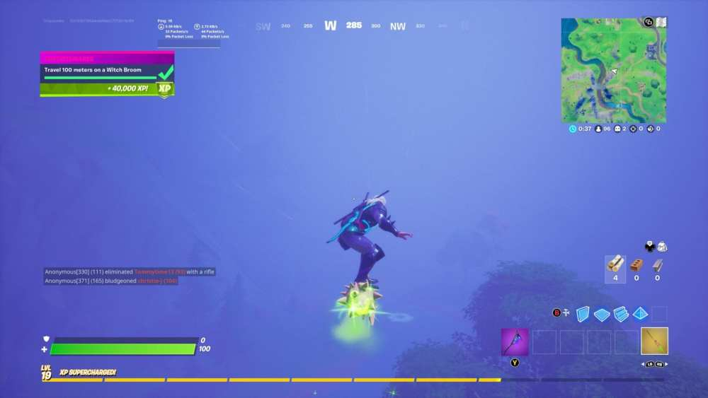 Travel 100 meters on witch broom in fortnite