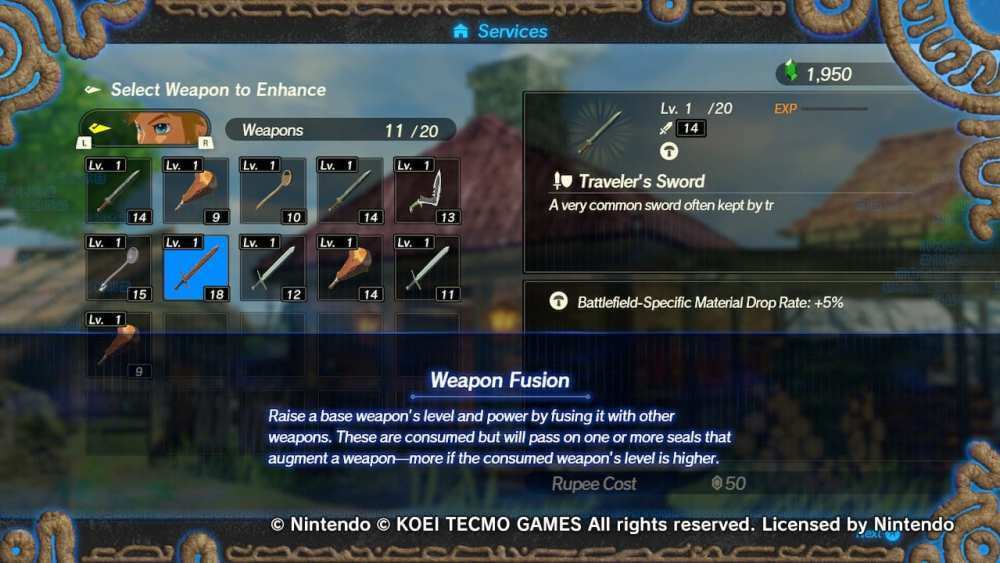 hyrule warriors age of calamity upgrade weapons