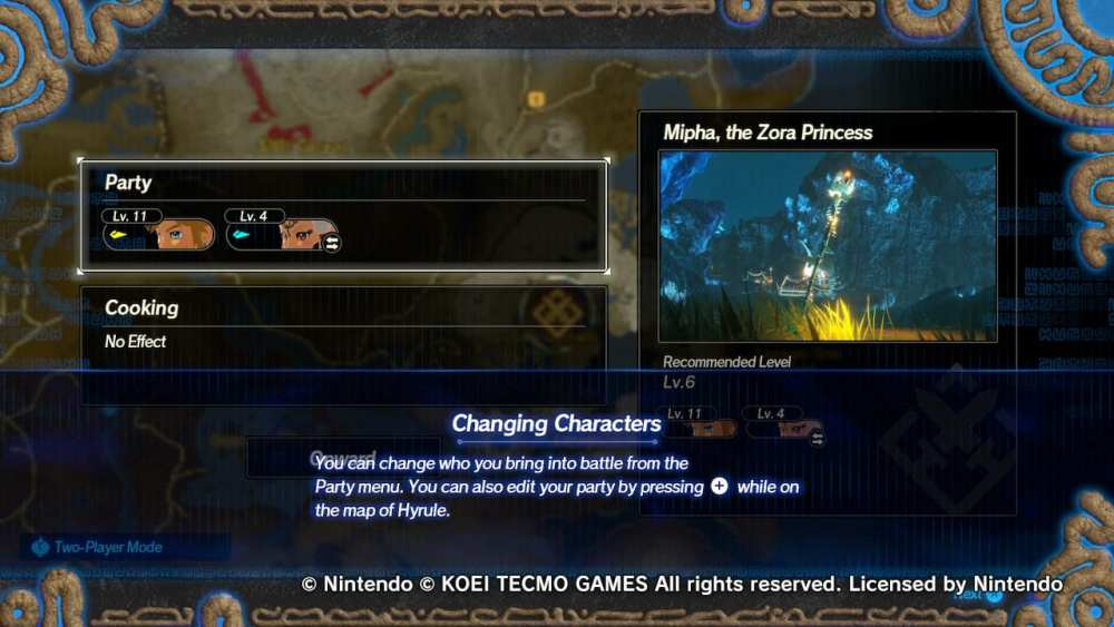 hyrule warriors age of calamity, change characters