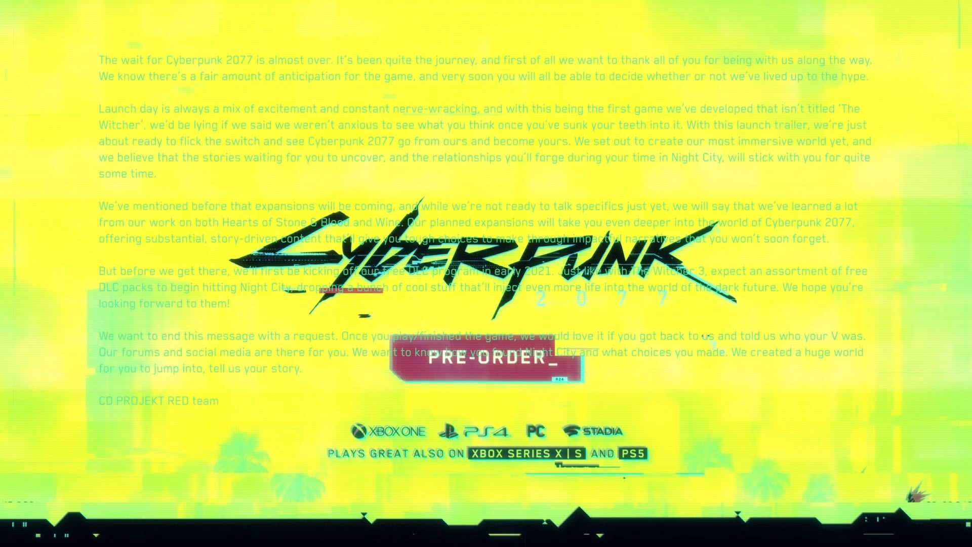 """Cyberpunk 2077 Teases Free DLC & """"Substantial, Story-Pushed Expansions"""" With Secret Message in Trailer 1"""