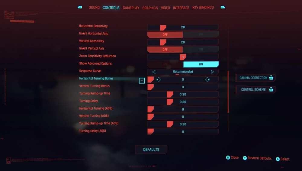 cyberpunk 2077 best controller settings