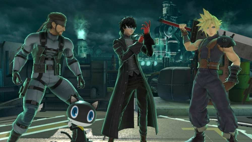 Snake, Joker and Cloud on the Midgar stage in Super Smash Bros. Ultimate