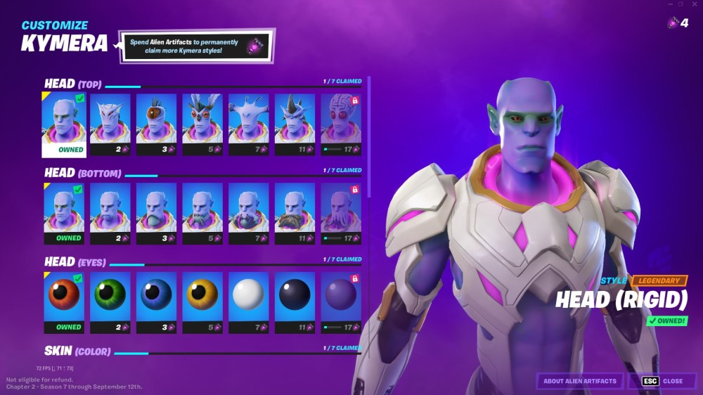 using alien artifacts to customize kymera in fortnite
