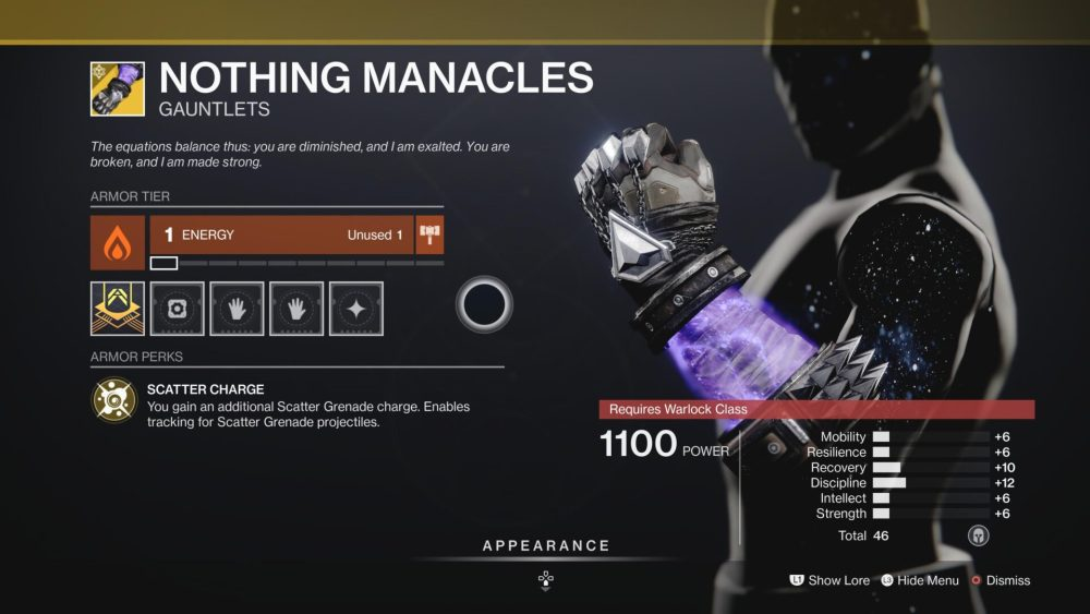 how to get nothing manacles destiny 2