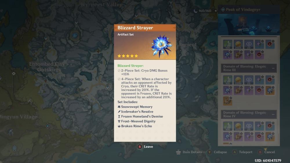 Genshin Impact Blizzard Strayer Artifact Set
