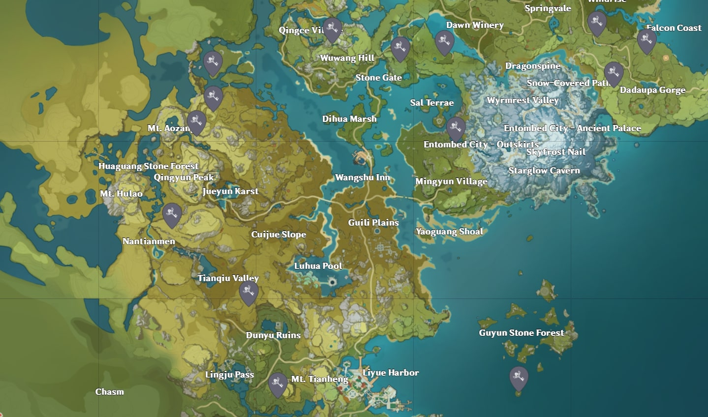 Genshin Impact Liyue Shrine of Depths Map