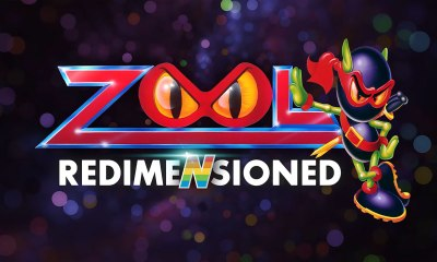 The ninja from the Zool franchise stands next to the title of Zoom Redimensioned