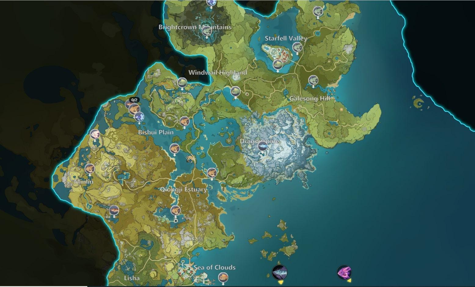 Genshin Impact Fishing Map Mondstadt Liyue
