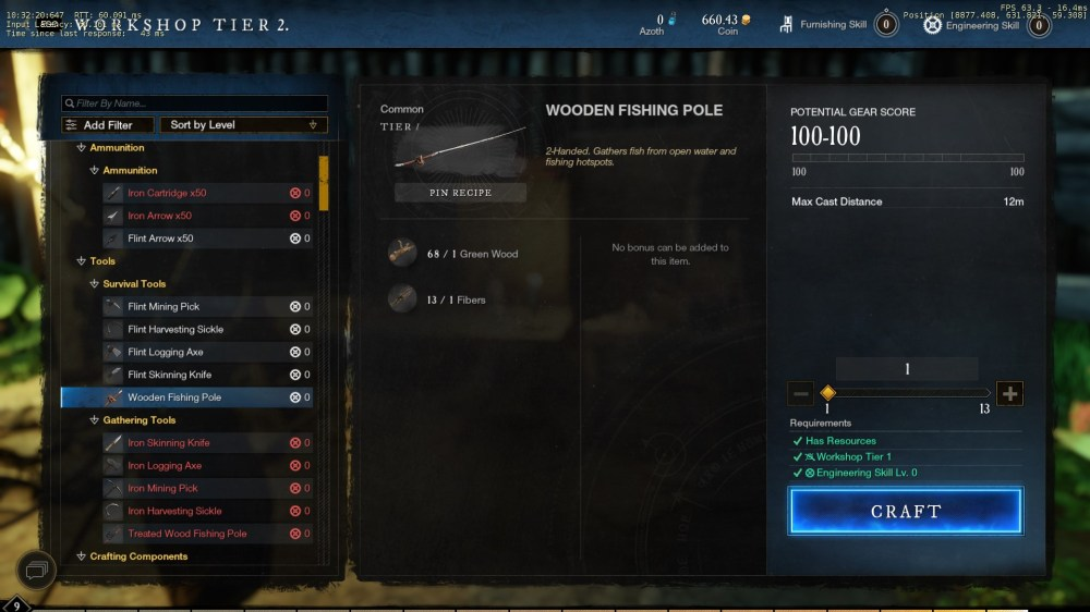 how to get a fishing rod in New World