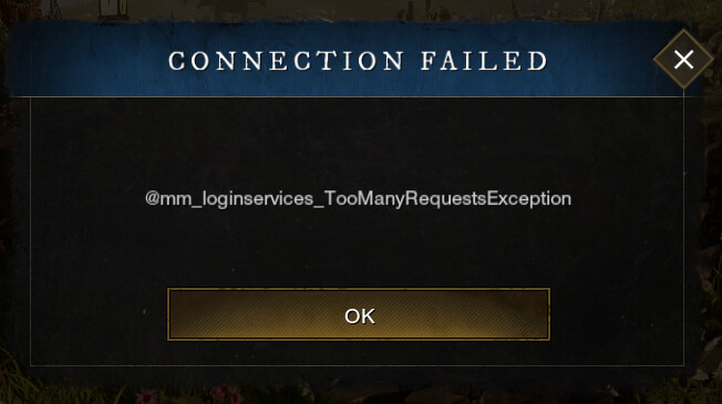 New World Too Many Requests Exception error
