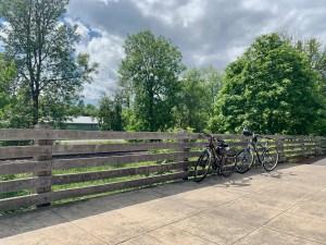 Bikes resting on the bridge at the trail's start