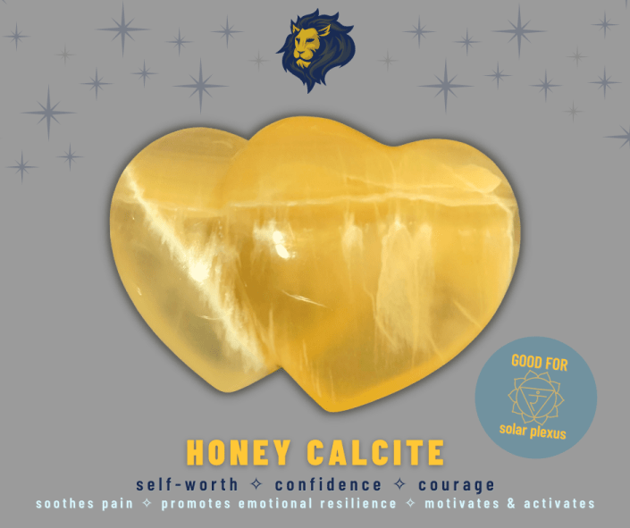 Honey calcite is good for the solar plexus chakra, self-worth, confidence, courage. Soothes pain, promotes emotional resilience, motivates and activates.