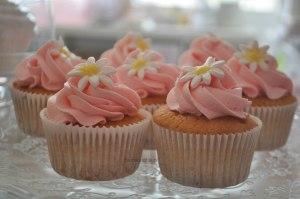 Cupcakes met roze toef