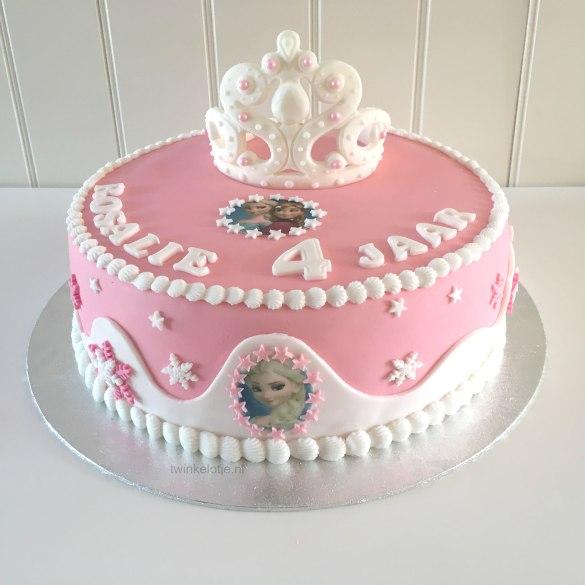 Frozentaart roze met kroontje