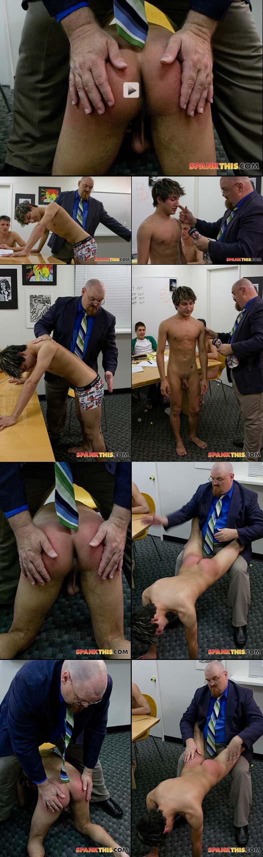 Daniel West stripped naked and visciousy spanked