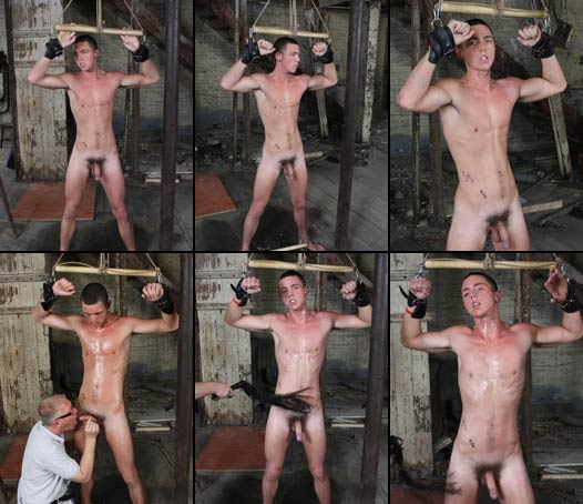 Delicious twink chained and flogged