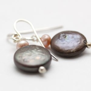 Bronze coin pearl earrings