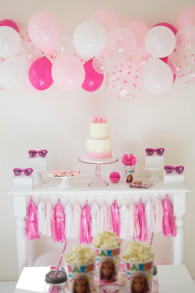 I Incorporated Different Shades Of Pink White And Clear Balloons In Sizes It Made The Perfect Backdrop For Our Dessert Table