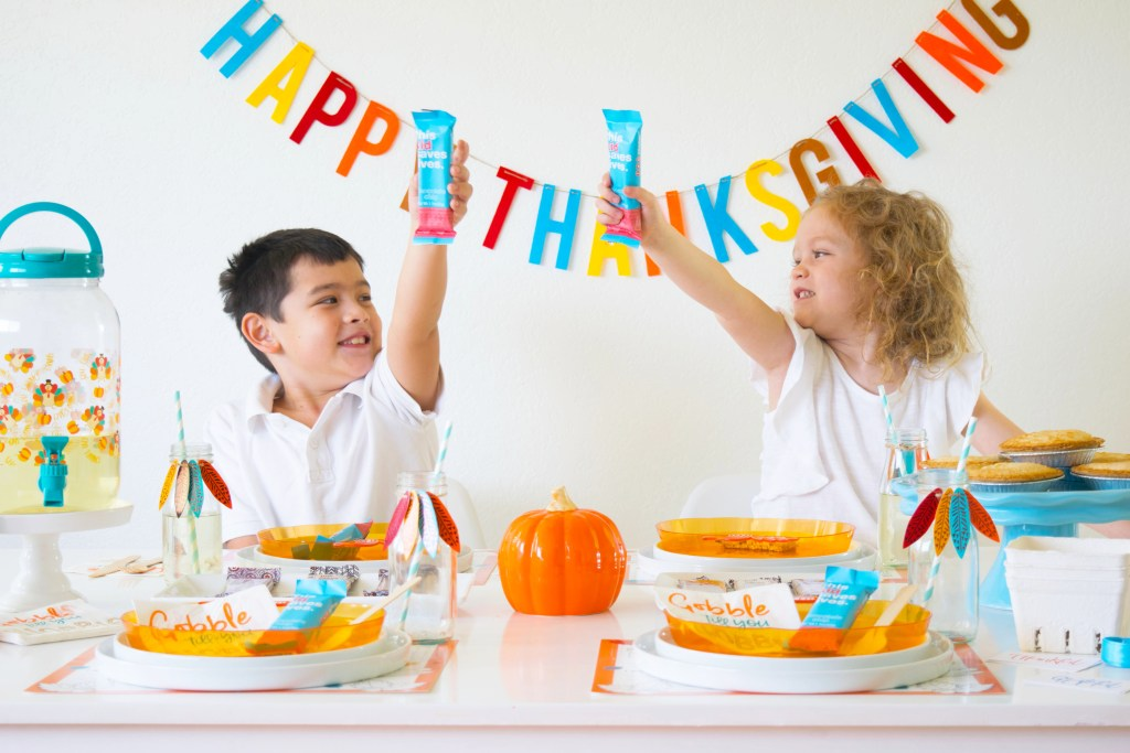 Kids Thanksgiving table and a bar that saves lives