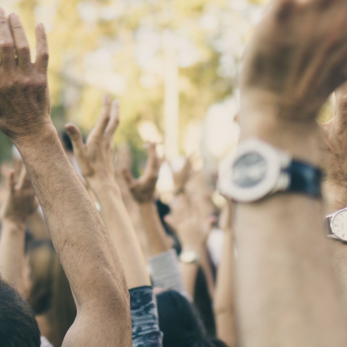 teacher activists: people protesting with raised hands