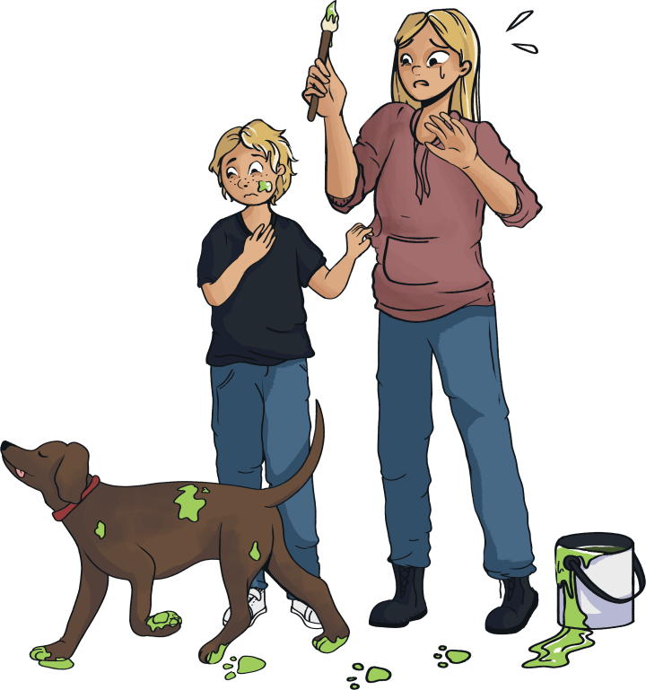 home learning: a parent and child with a paint-covered dog