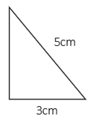 Right-angle triangle with sides of 5cm and 3cm