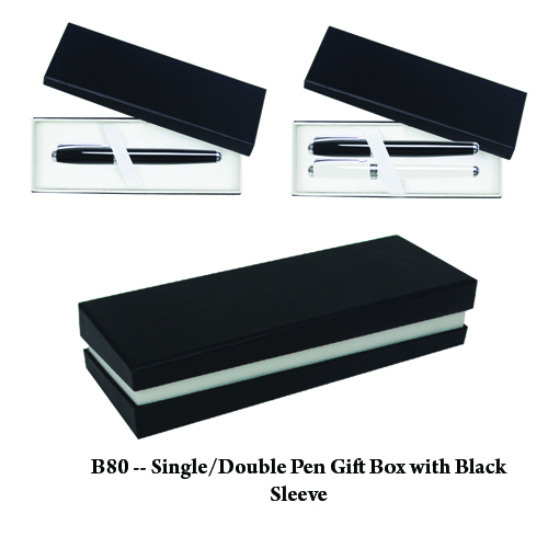 B80 — Single or Double Pen Gift Box with Black Sleeve