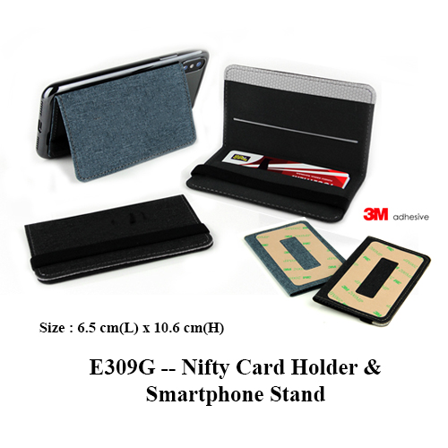 E309G — Nifty Card Holder & Smartphone Stand