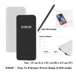 E896P Tony Li Polymer Power Bank 5000 mAh 1 - E329G -- Solitaire Charging Cable (3 in 1)