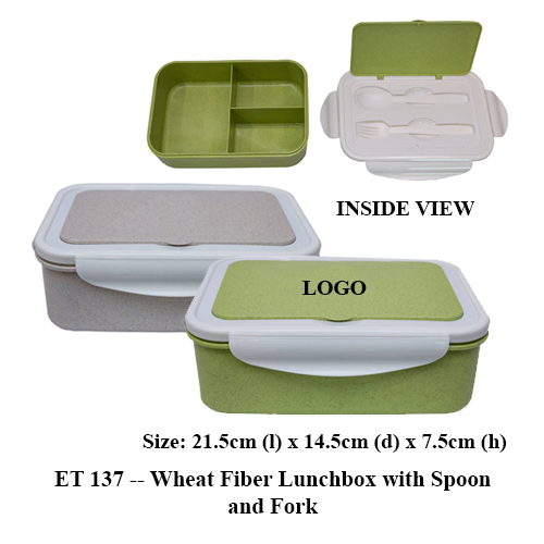 ET 137 — Wheat Fiber Lunchbox with Spoon and Fork