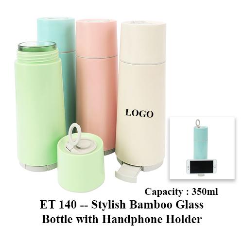ET 140 — Stylish Bamboo Glass Bottle with Handphone Holder