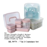 HL 597N 7 In 1 Container Set 1 - HL 596N -- 2 Tier Stainless Steel Lunch Box