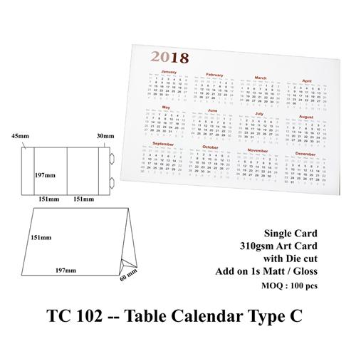TC 102 — Table Calendar Type C