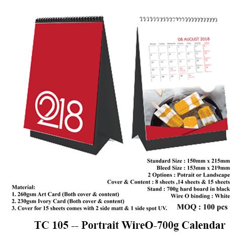 TC 105 — Portrait WireO-700g Calendar