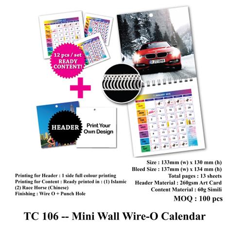 TC 106 — Mini Wall Wire-O Calendar