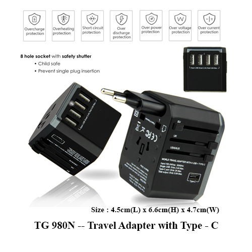 TG 980N — Travel Adapter with Type – C