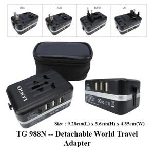 TG 988N -- Detachable World Travel Adapter