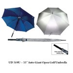 "UD 319U 33    Auto Giant Open Golf Umbrella - UD 321U -- 30"" Double Level Ribs Windflow Umbrella with EVA Handle"