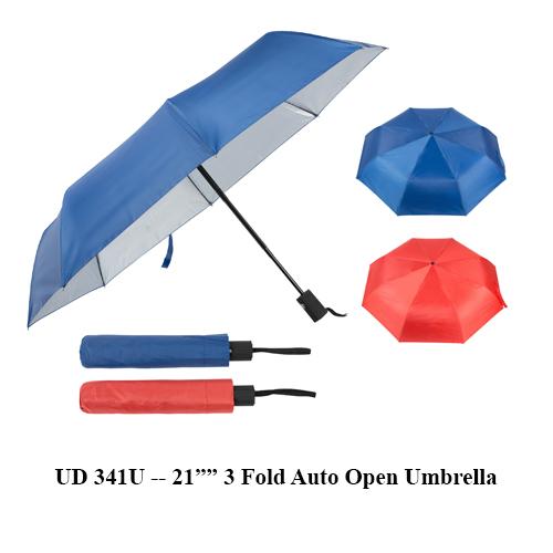 """UD 341U — 21"""" 3 Fold Auto Open Umbrella"""